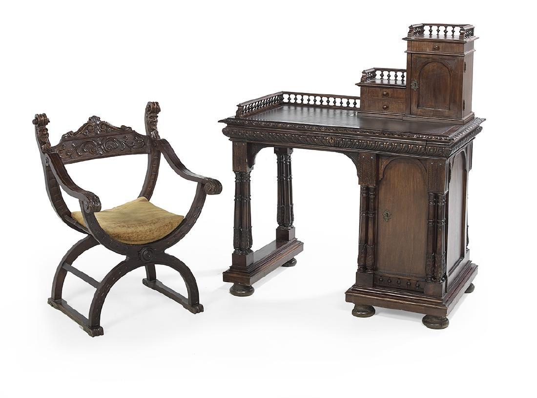 Italian Walnut Desk and Savonarola Chair