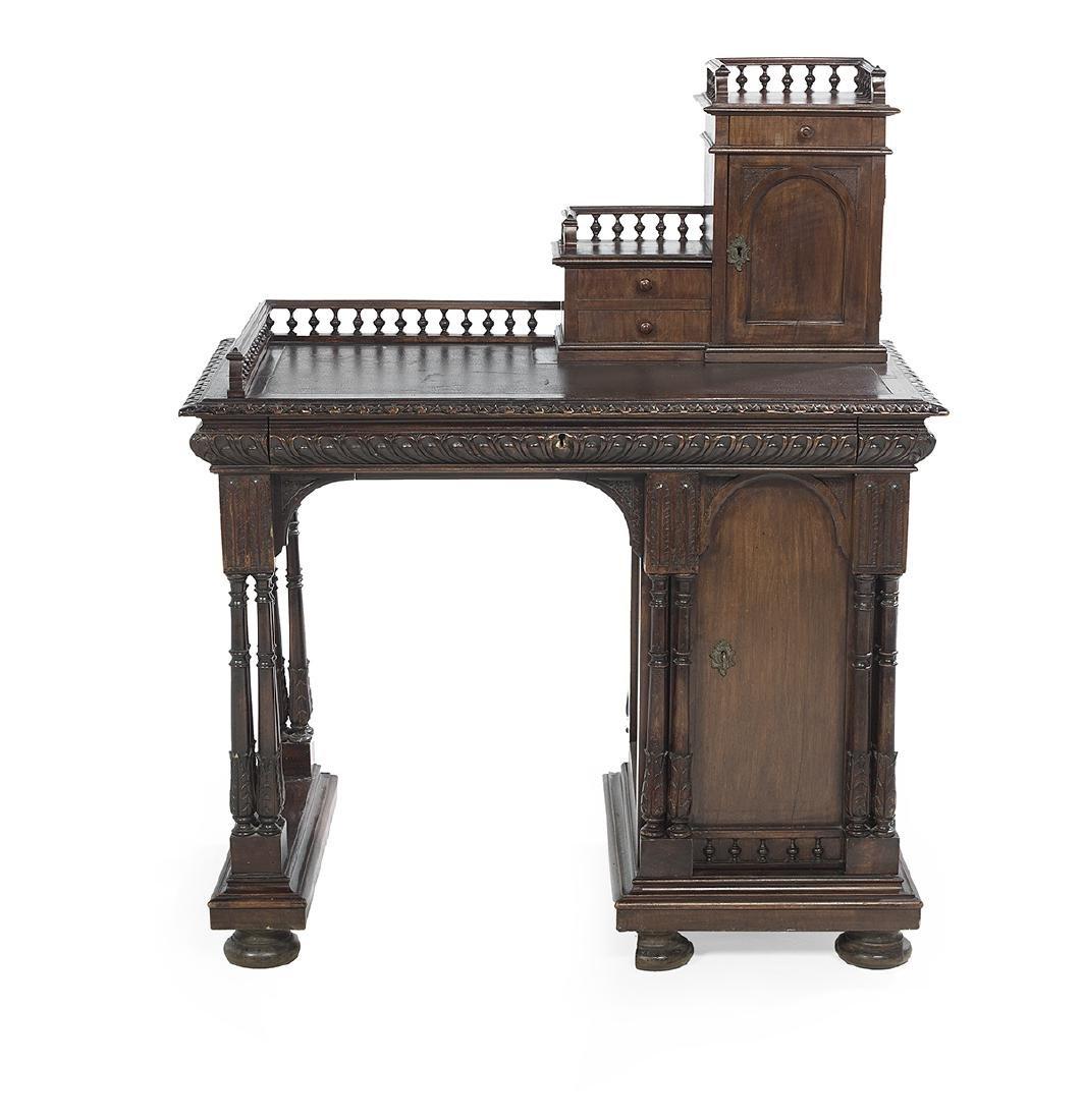 Italian Walnut Desk and Savonarola Chair - 2