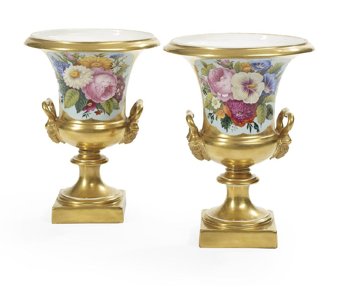 Pair of Paris Porcelain Gilt Campana-Form Urns