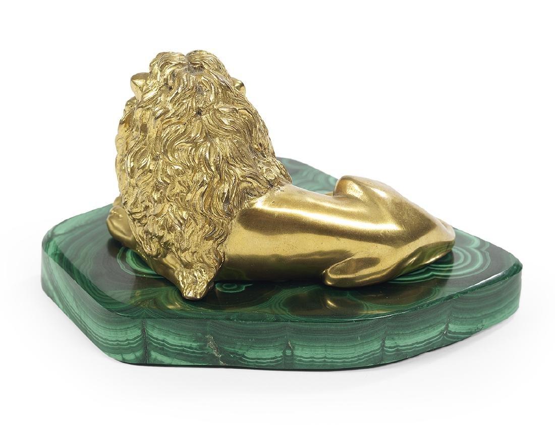 Gilt-Bronze Recumbent Lion on a Malachite Base - 2