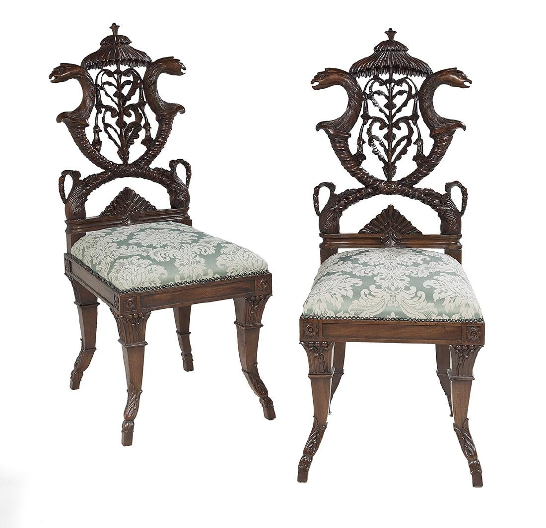 Pair of William IV-Style Mahogany Hall Chairs