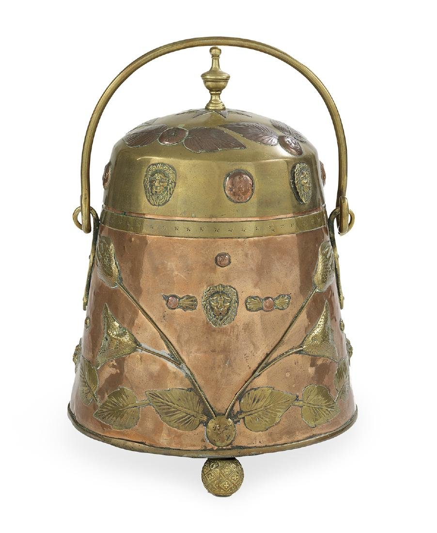 English Brass and Copper Coal Bucket