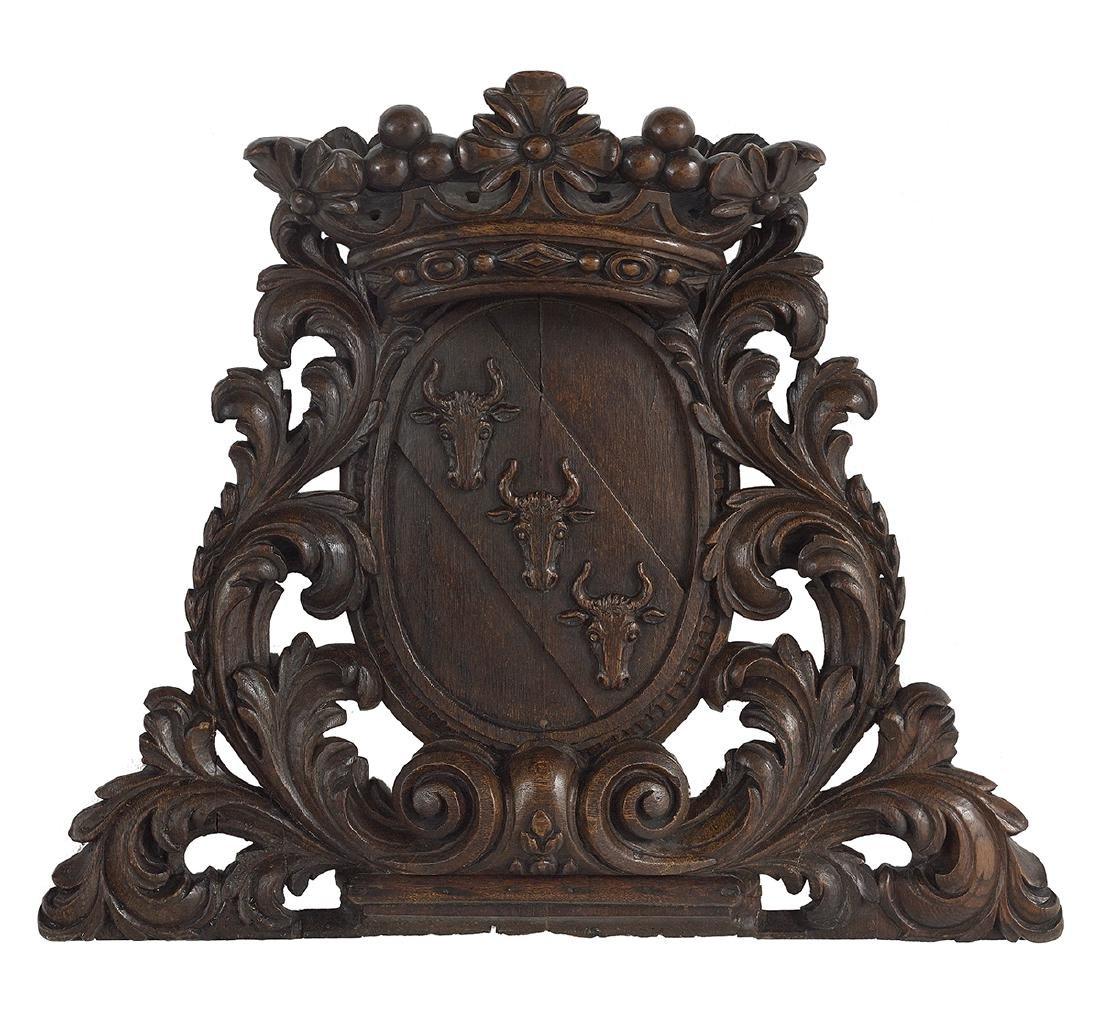 Renaissance-Style Carved Oak Architectural Plaque