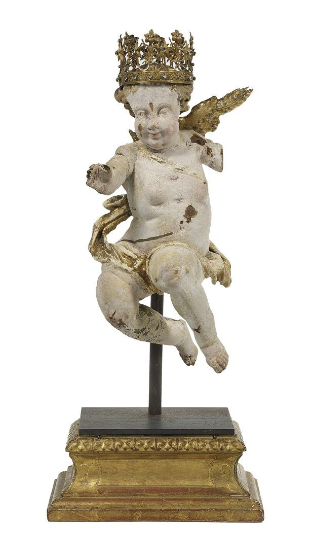 Baroque Carved, Painted and Parcel-Gilt Angel