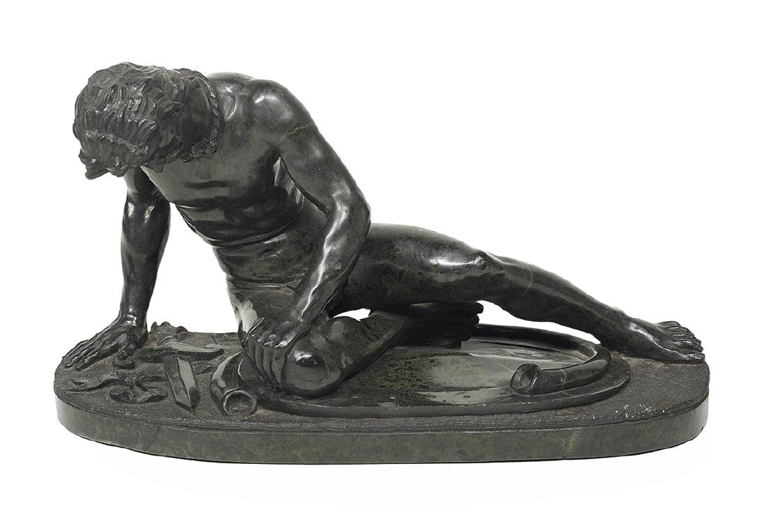 """Italian Carved Black Marble of """"The Dying Gaul"""""""