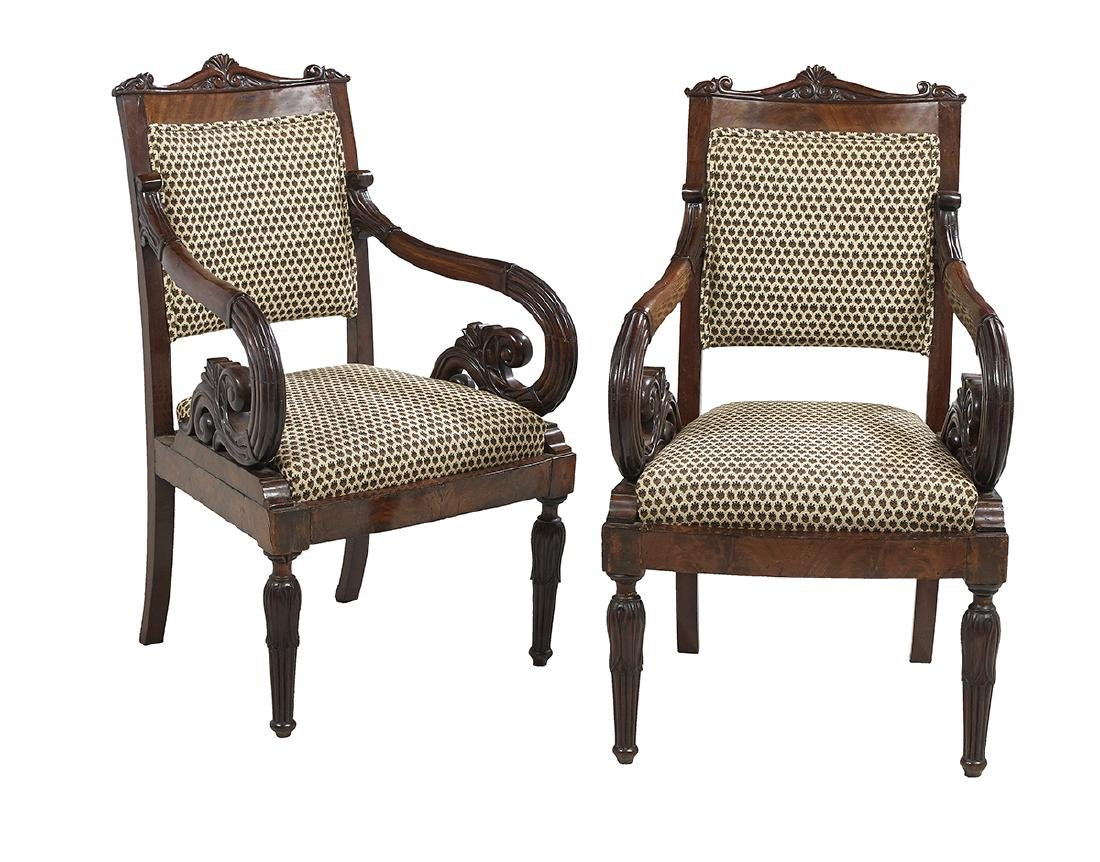 Pair of Baltic Neoclassical Mahogany Armchairs