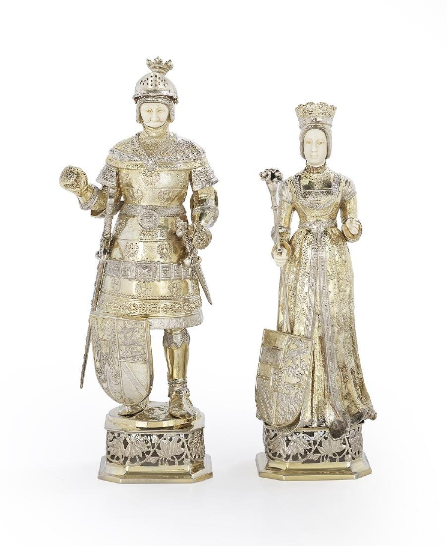 Pair of German Silver Gilt Cabinet Figures