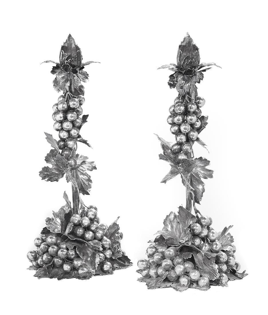 Pair of Mario Buccellati Silver Candlesticks