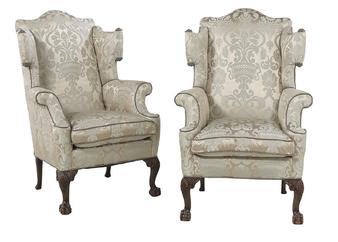 Pair of Georgian-Style Mahogany Wing Chairs