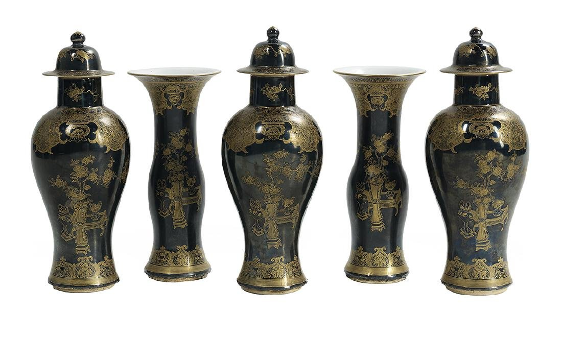 Five-Piece Chinese Export Famille Noire Garniture