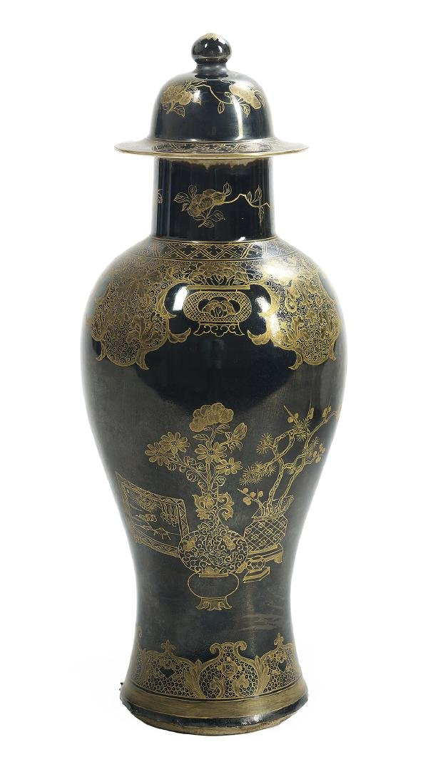 Five-Piece Chinese Export Famille Noire Garniture - 2
