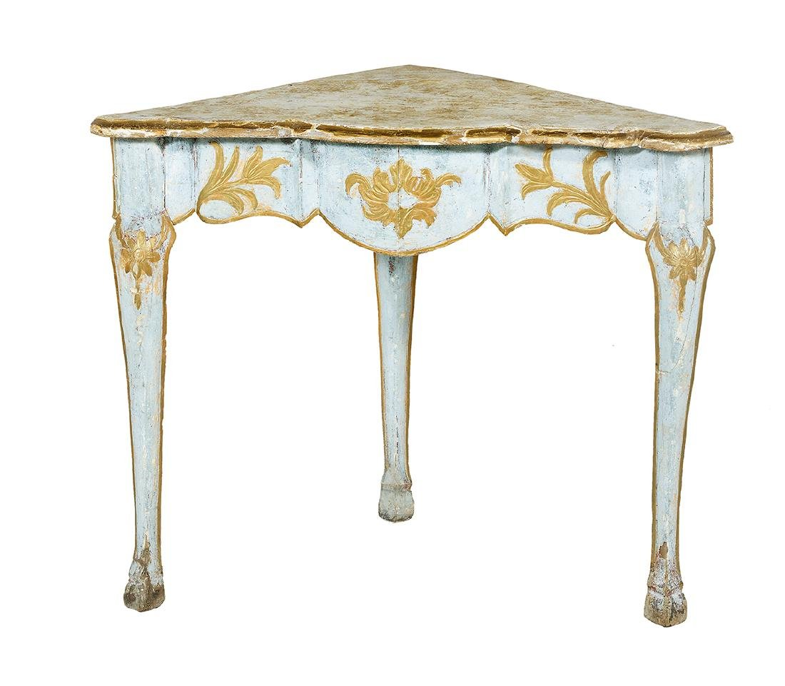 Louis XV-Style Polychrome Corner Table