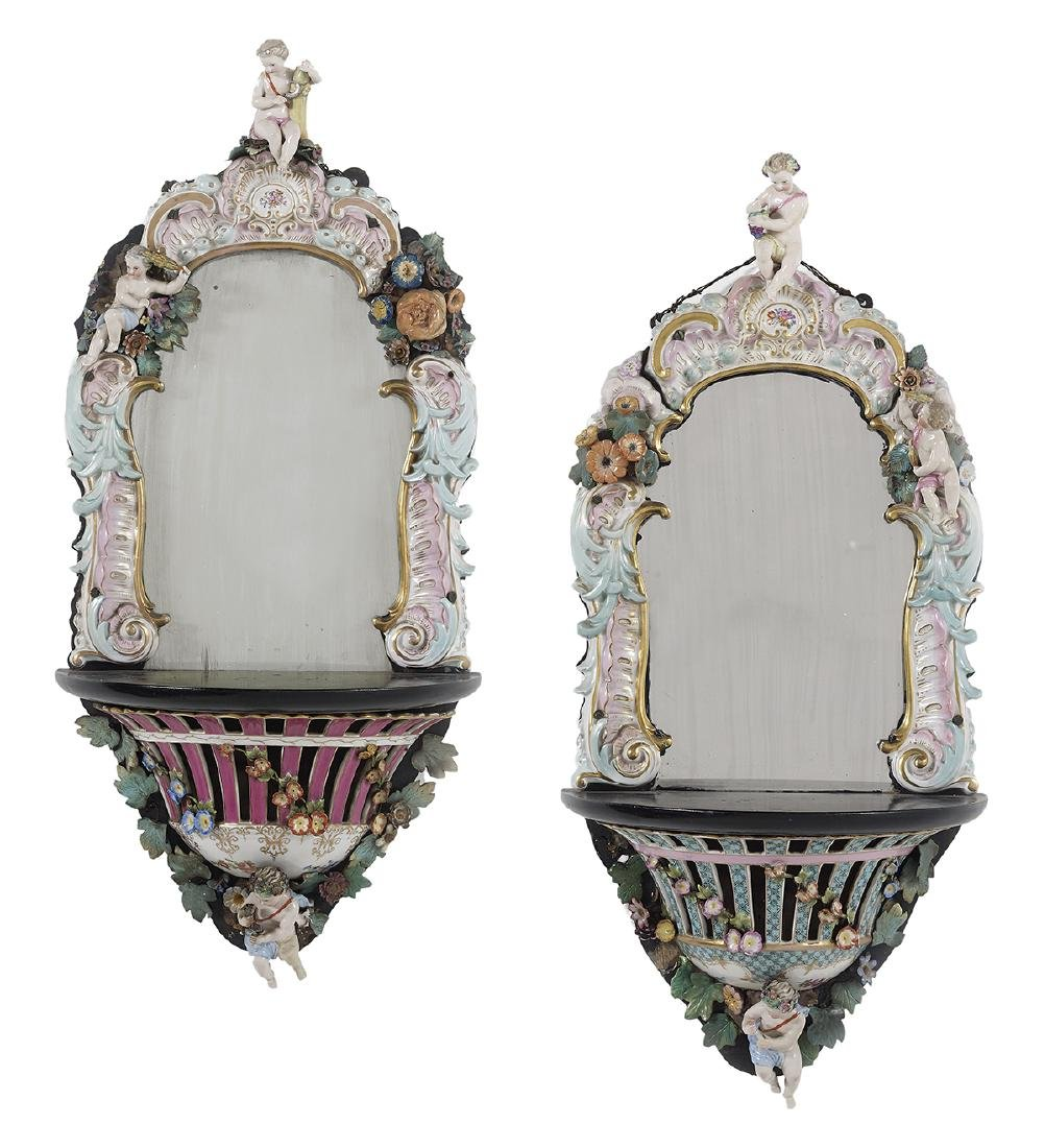 Pair of Meissen-Style Porcelain Mirrored Brackets