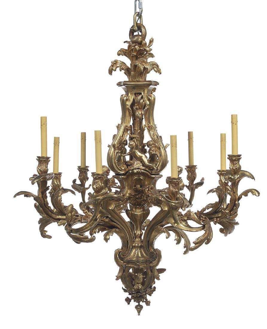 Louis XV-Style Gilt-Bronze Chandelier