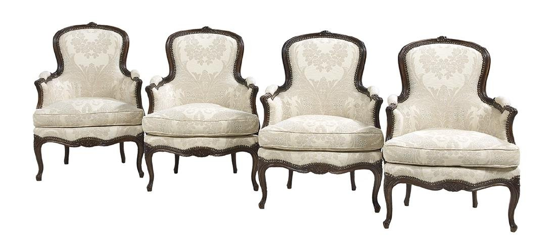 Suite of Four Louis XV-Style Beechwood Bergeres