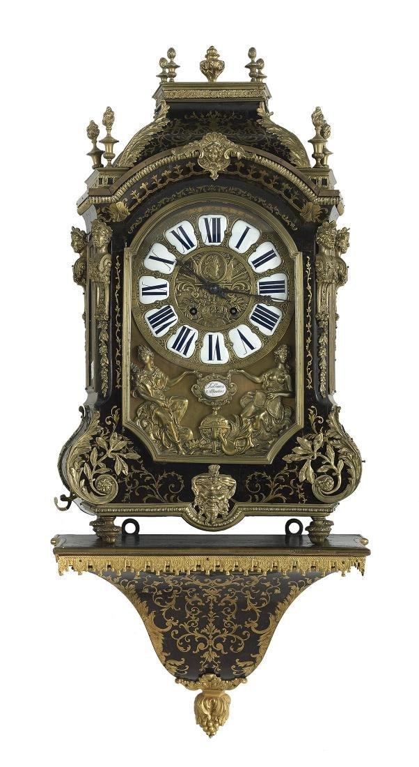 Louis XIV-Style Ebonized Bracket Clock
