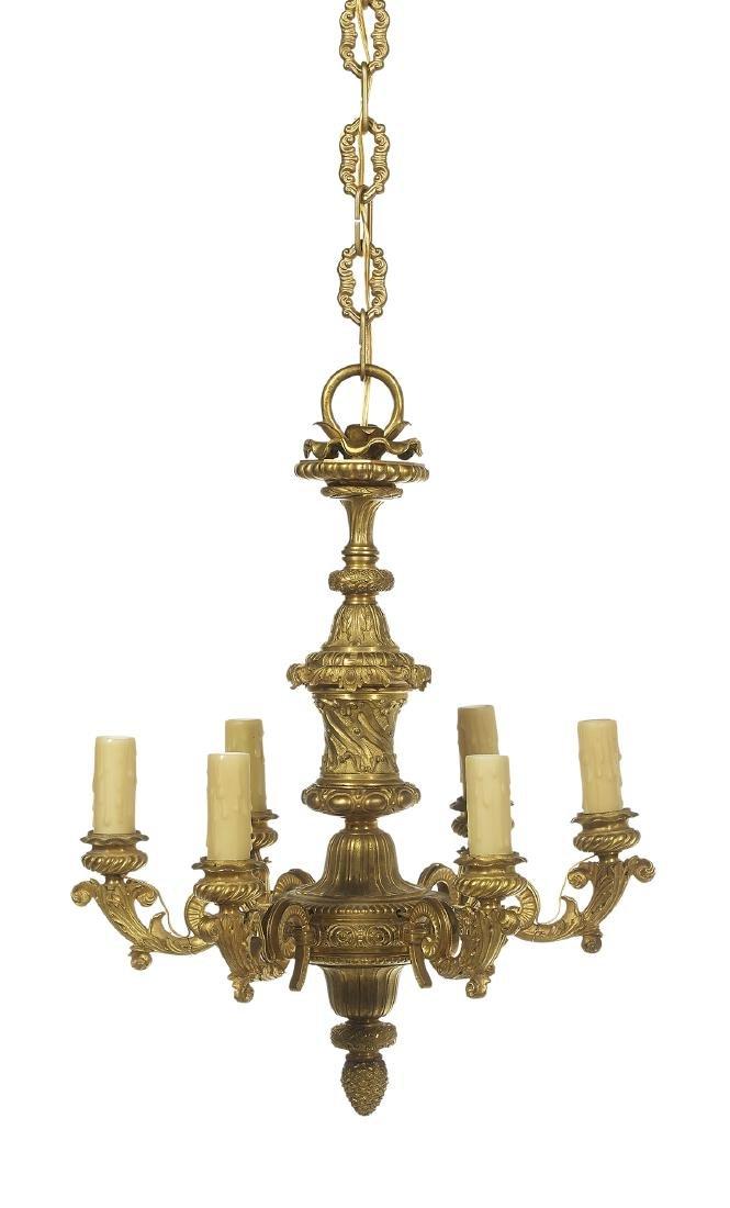 Handsome French Gilt-Bronze Six-Light Chandelier