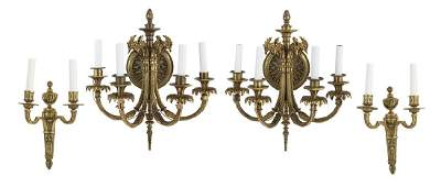 Two Pairs of Louis XVIStyle GiltBronze Sconces