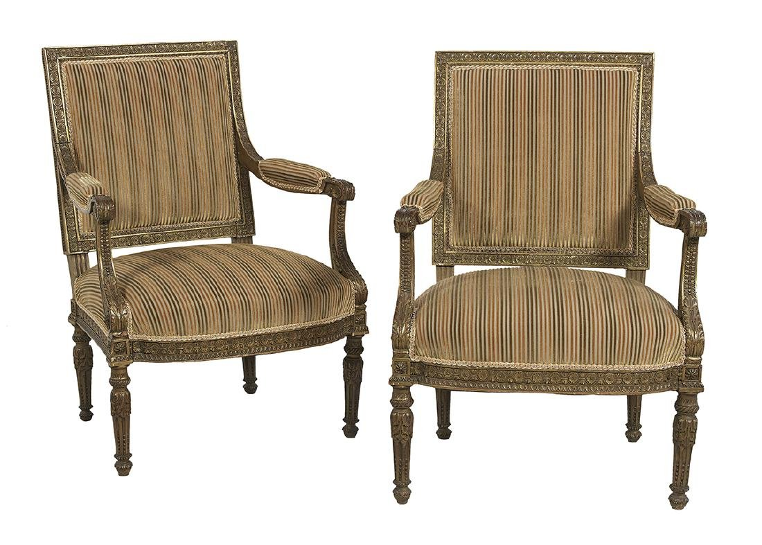 Pair of Louis XVI-Style Polychromed Fauteuils
