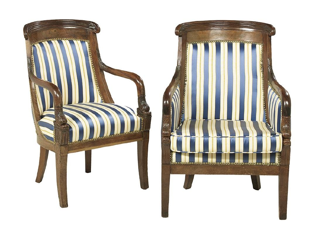 Pair of Louis-Philippe Mahogany Fauteuils