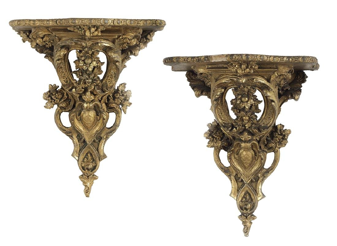 Pair of Louis-Philippe Pierced Giltwood Brackets