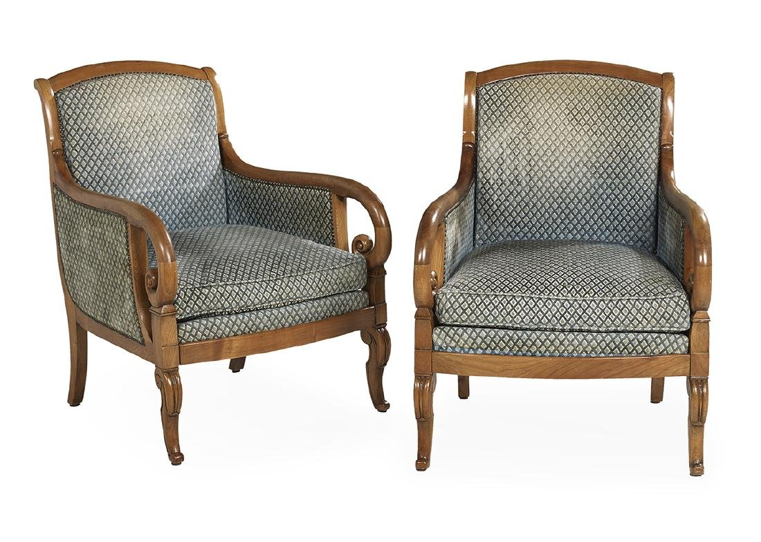 Pair of Mid-Century Fruitwood Bergeres