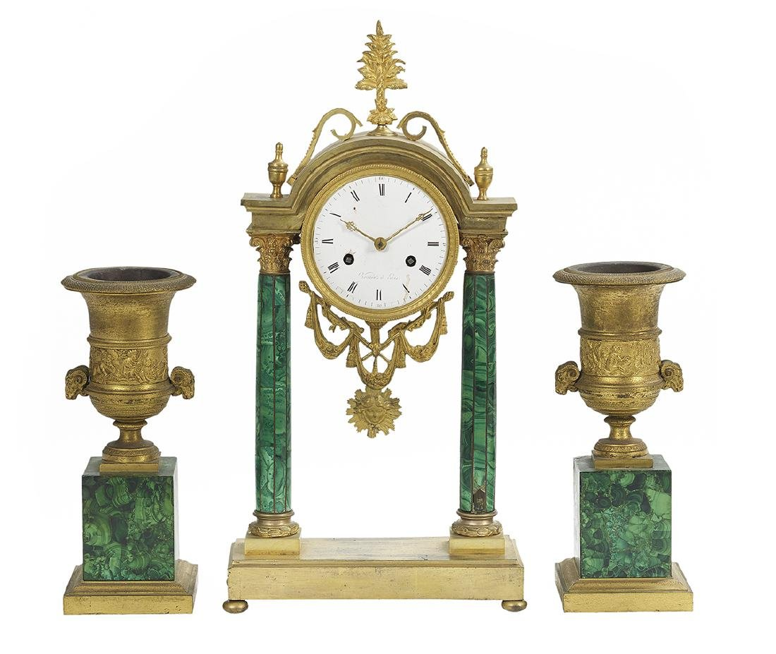 Rare French Gilt-Bronze and Malachite Clock Set