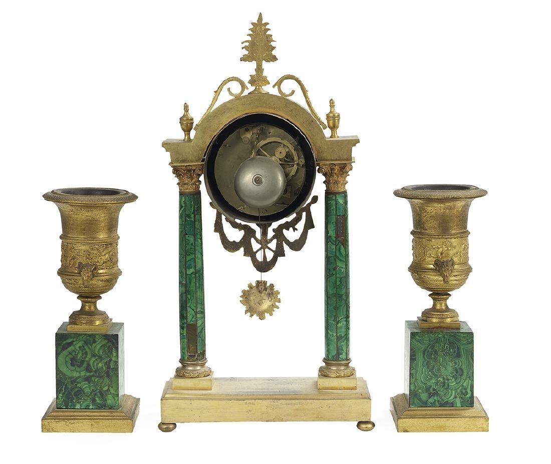 Rare French Gilt-Bronze and Malachite Clock Set - 2