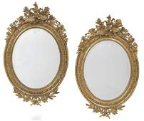 Pair of LouisPhilippe Giltwood Oval Mirrors