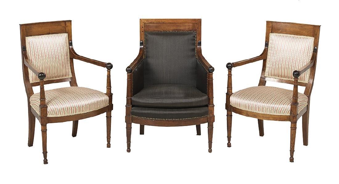 Three Restauration Fruitwood Armchairs
