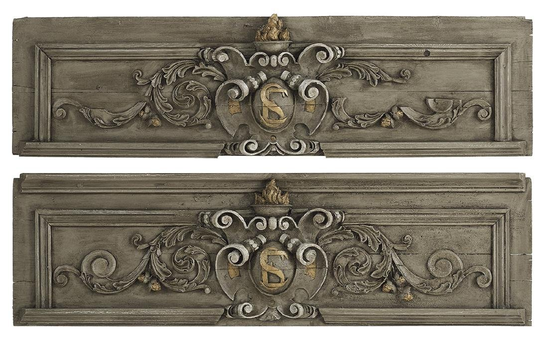Pair of French Polychromed Over-Door Panels