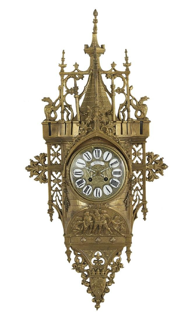 Gothic Revival Polished Bronze Clock
