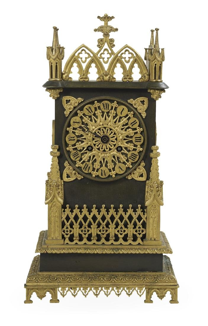 French Gothic Revival Bronze Mantel Clock