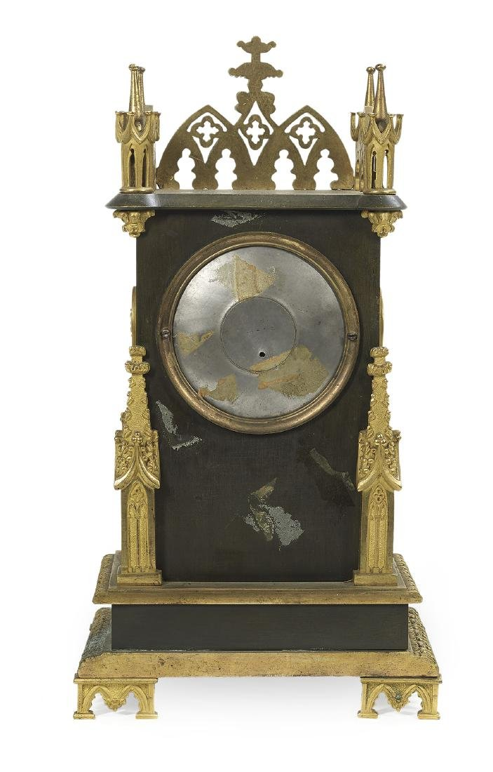 French Gothic Revival Bronze Mantel Clock - 2