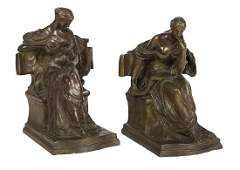 Pair of French Bronze Bookends of Two Muses