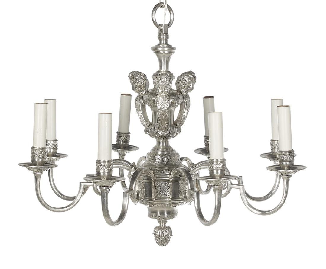 Neoclassical-Style Silvered Bronze Chandelier