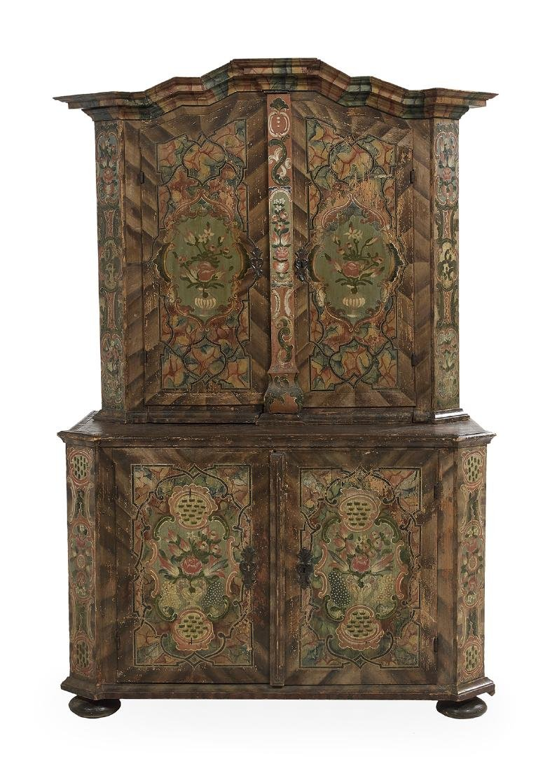 Continental Polychrome Two-Part Cabinet