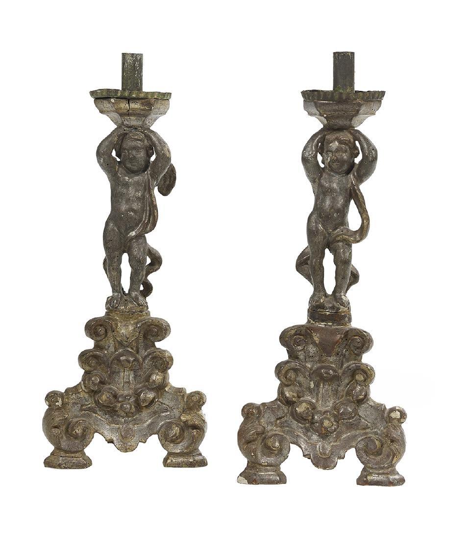 Pair of Baroque Silver Gilt Candlesticks