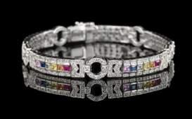 Multicolored Sapphire, Ruby and Diamond Bracelet