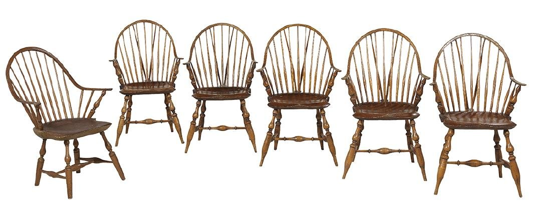 Six Windsor-Style Pine and Oak Armchairs