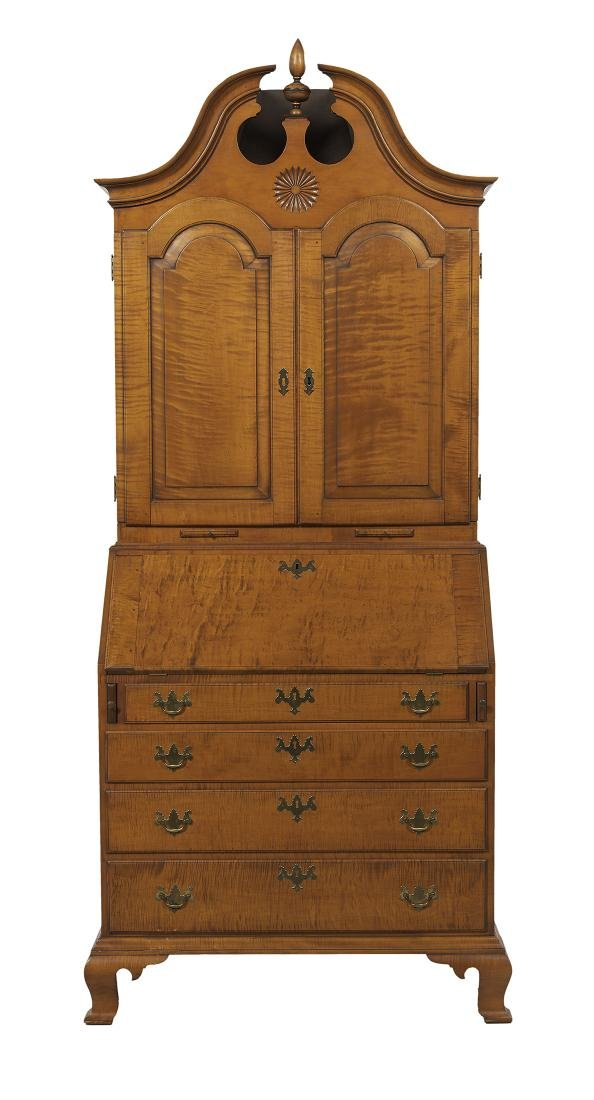 American Chippendale-Style Tiger Maple Secretary