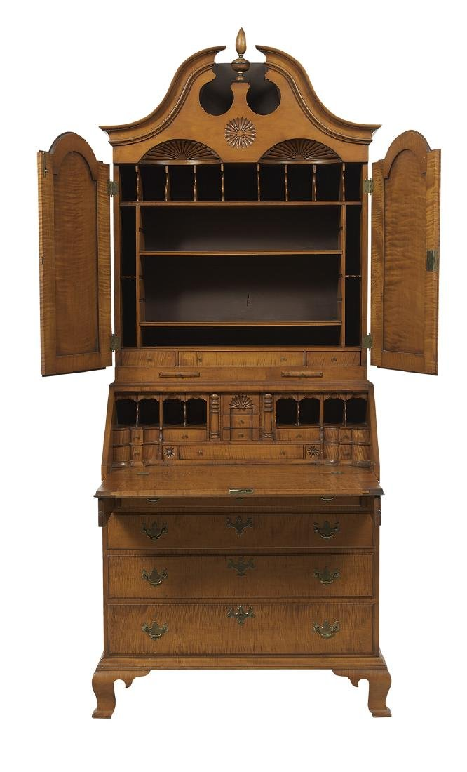 American Chippendale-Style Tiger Maple Secretary - 2