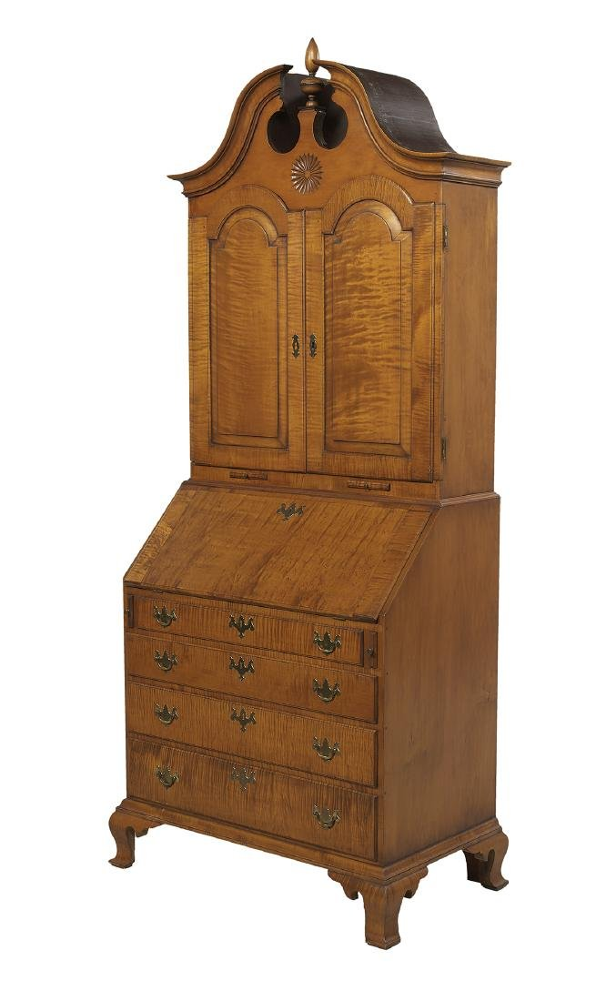 American Chippendale-Style Tiger Maple Secretary - 3