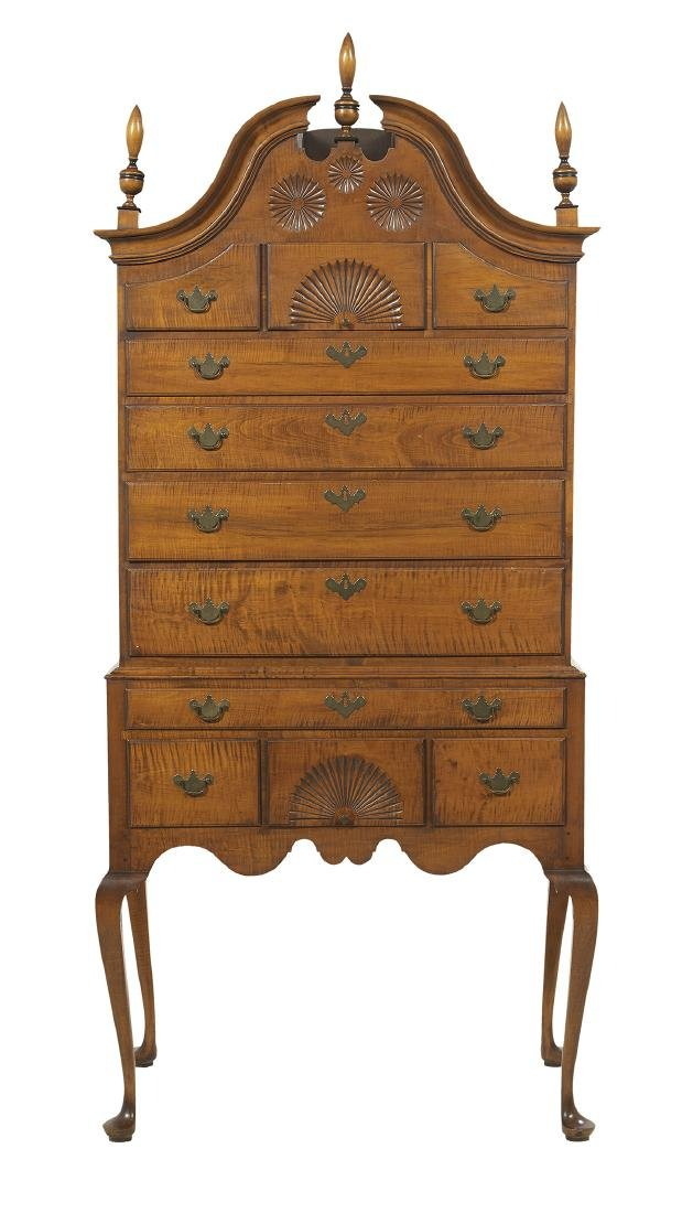 American Queen Anne-Style Tiger Maple High Chest