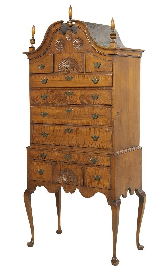 American Queen Anne-Style Tiger Maple High Chest - 2