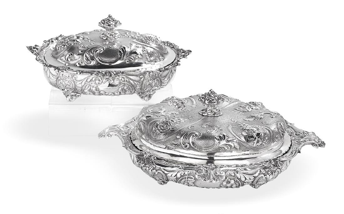 Near Pair of Gorham Sterling Silver Entree Dishes