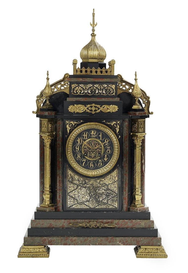 French Marble and Bronze Japy Freres Mantel Clock