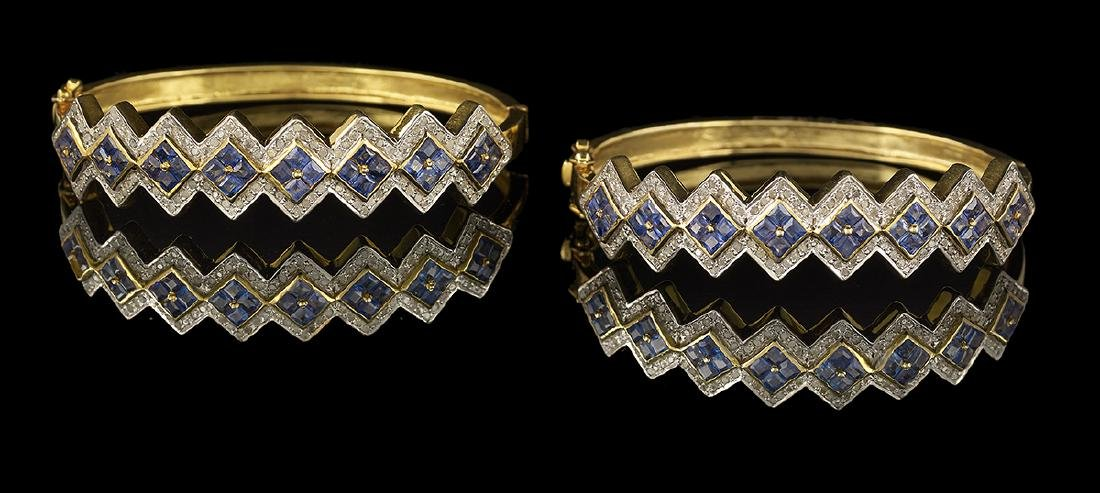 Two Diamond and Sapphire Bracelets