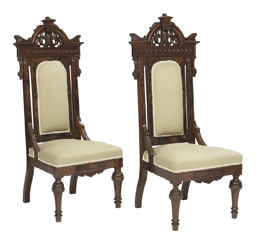Pair of American Renaissance Revival Hall Chairs