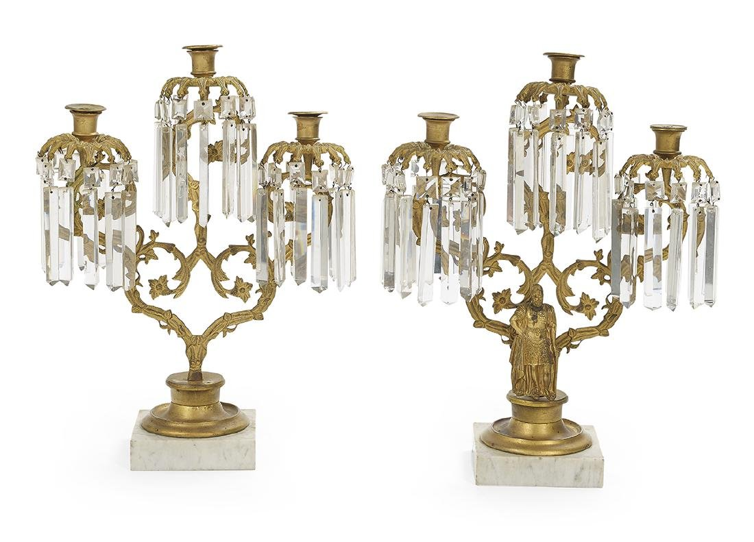 Pair of American Brass and Marble Girandoles